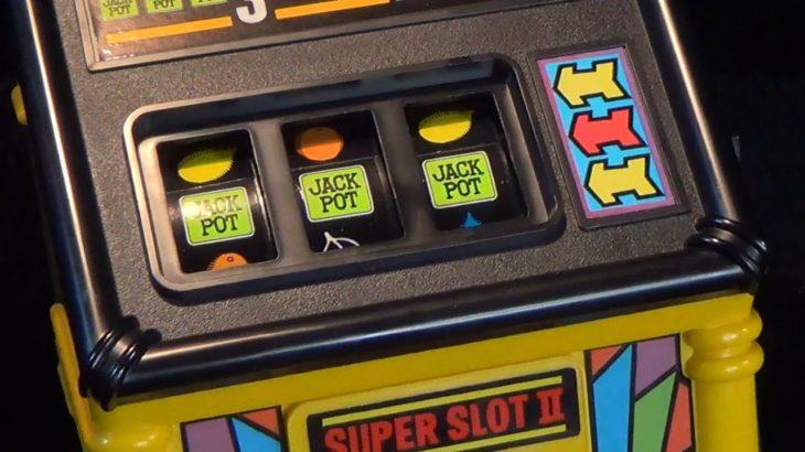 【レトロ スロットマシーン】スーパースロット エポック社 super slotⅡ ラスベガス ジャックポット 電動 玩具 メダルゲーム コイン 1987 made in japan epoch ブラゼ
